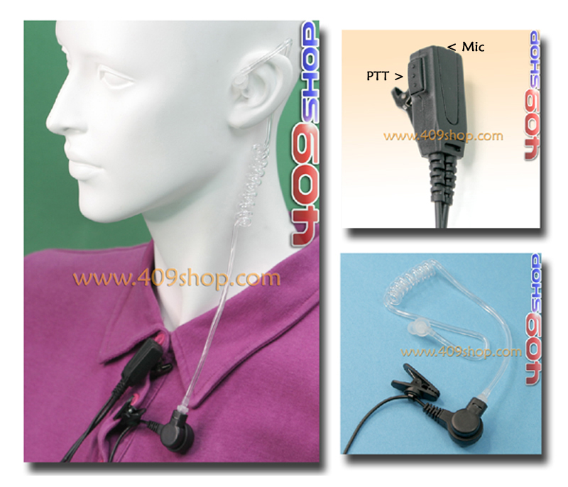 Covert Acoustic Tube Earpiece for Motorola MotoTRBO Radio: XPR-6350, XPR-6500, XPR-6550
