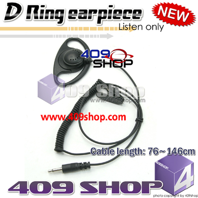 D Shape 3.5mm mono Earpiece- Listen only