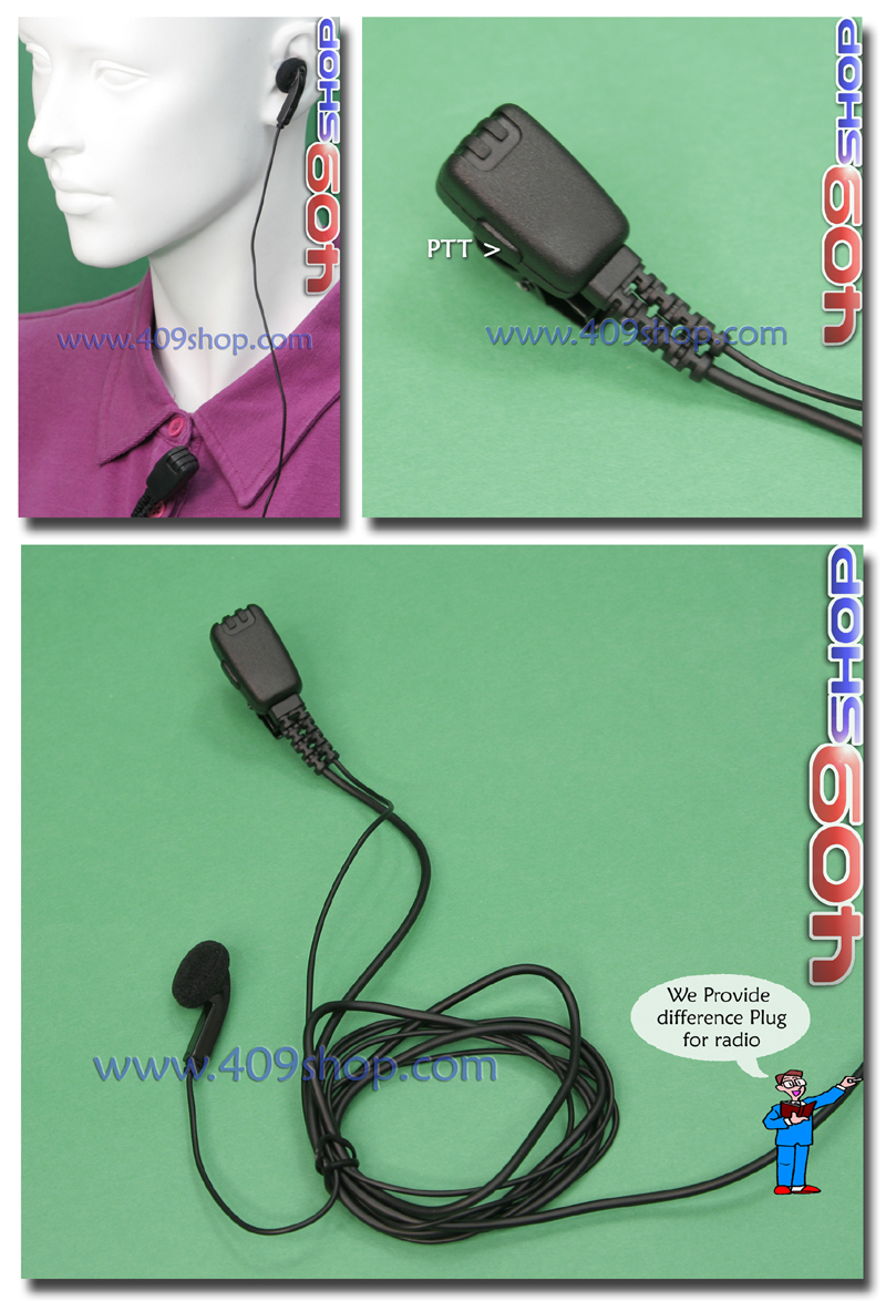2-Wire PTT Earheadset with mic for two way radio MOTOROLA GP338Plus GP344 GP388
