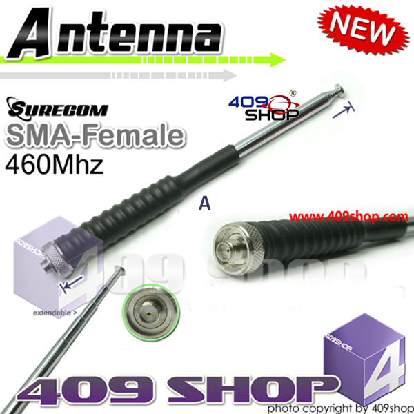 Model No.5-009SF-460 SURECOM SMA-Female Telescopic Antenna 460Mhz