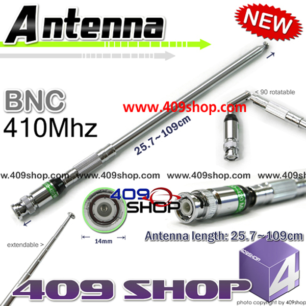 BNC UHF 410Mhz TELESCOPIC Antenna