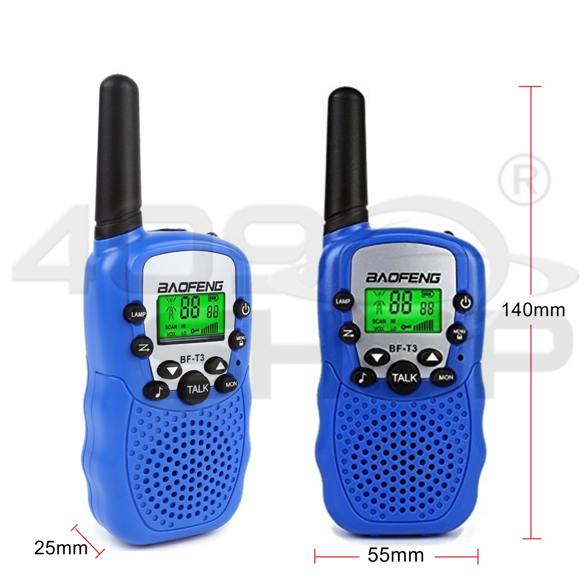 BaoFeng T-3 Kids Walkie Talkie Two Way Radio (1 Pair), Blue BF-T3 Mini radio
