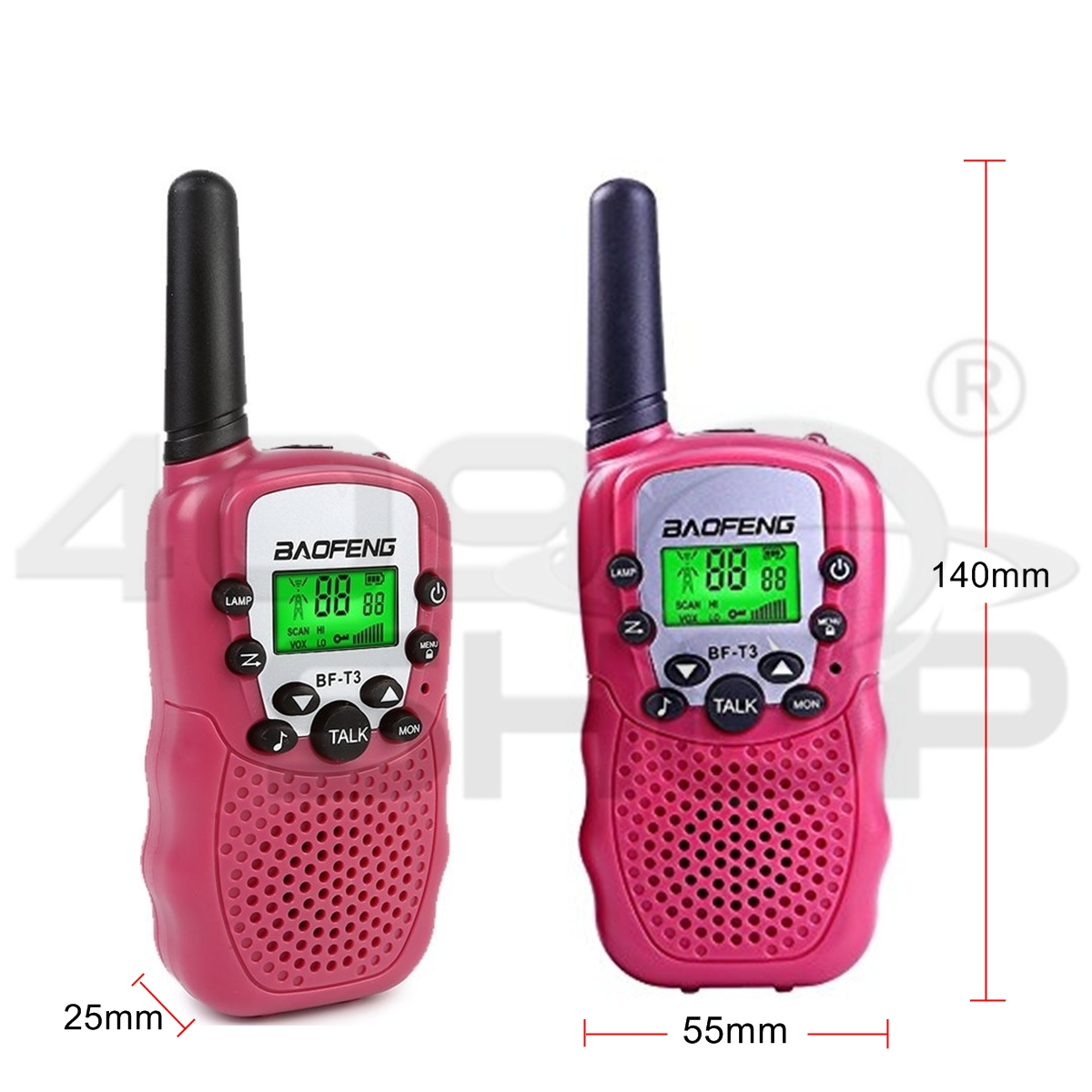 2017 New Baofeng BF-T3 Pink Handheld Walkie Talkie UHF Mini Two Way Radio x2