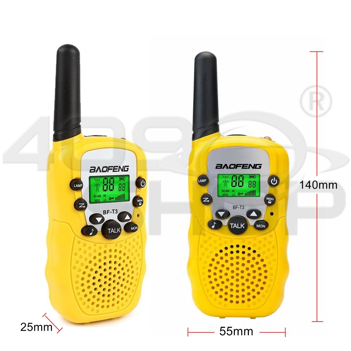 2x Baofeng BF-T3 YELLOW Handheld Walkie Talkie UHF Mini Two Way Radio Interphone