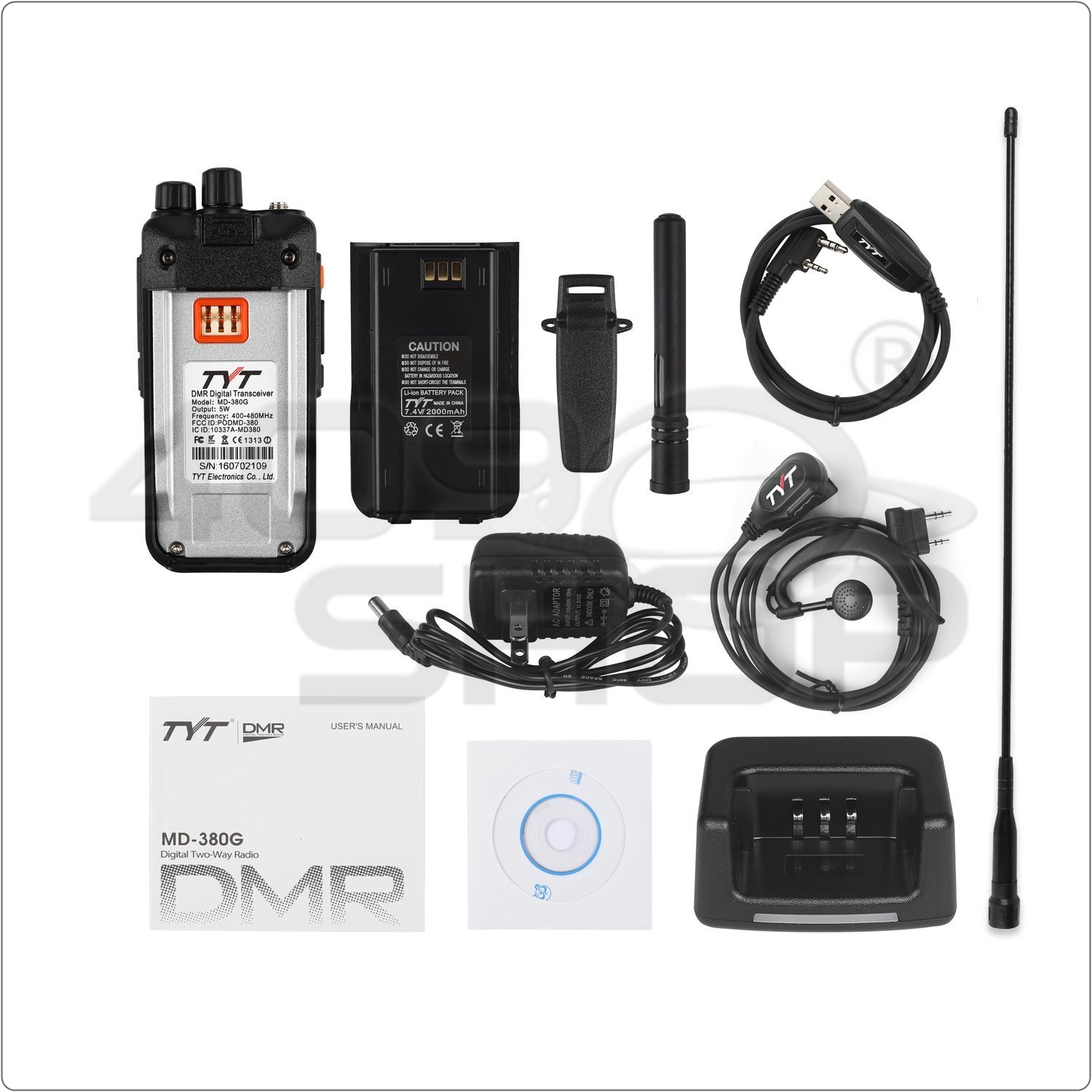 TYT MD-380G GPS 400-480MHz DMR Digital Walkie Talkie with GPS +USB Cable + Earp