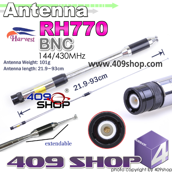 HARVEST Dual Band 144/430MHZ Extendable BNC Antenna