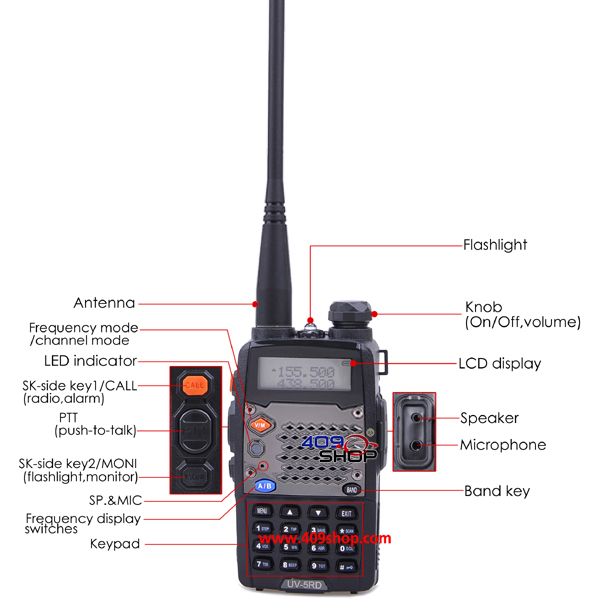 1 X BAOFENG UV5RD UU Dual Band 136 174 400 520Mhz Radio 360 Sucker Holder